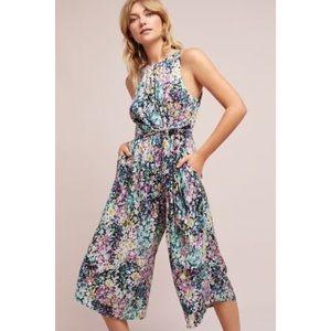 Anthropologie Floral Jumpsuit Sleeveless Wide Leg